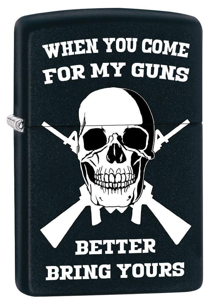 Zippo Lighter: Skull, Better Bring Your Guns - Black Matte 79548 (1975626924147)