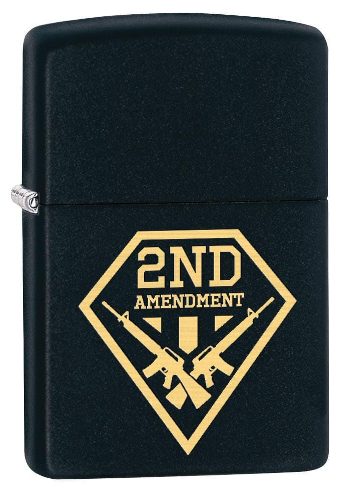 Zippo Lighter: Second Amendment Gun Shield - Black Matte 79551 (1975626989683)
