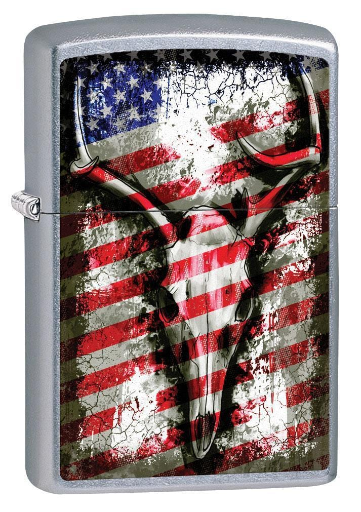 Zippo Lighter: Deer Skull and American Flag - Street Chrome 79572 - Gear Exec