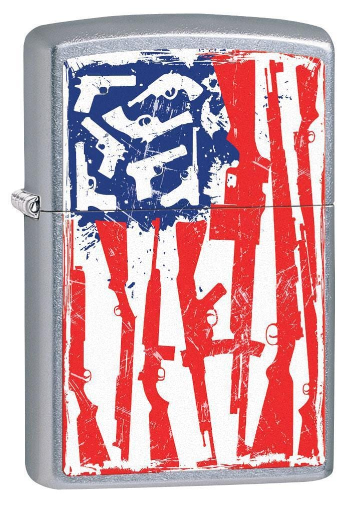 Zippo Lighter: American Flag of Guns - Street Chrome 79575 - Gear Exec