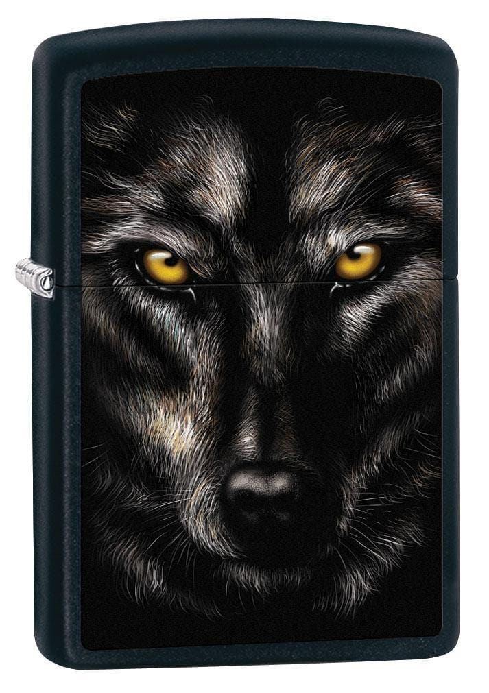 Zippo Lighter: Wolf Face - Black Matte 79578