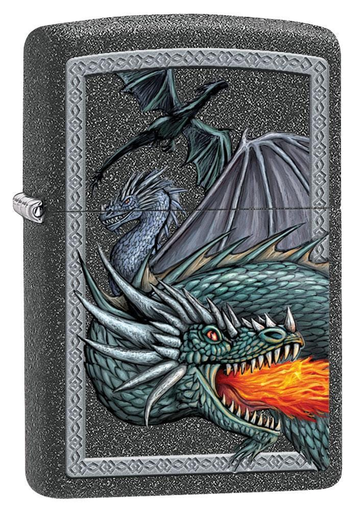 Zippo Lighter: Three Dragons - Iron Stone 79584