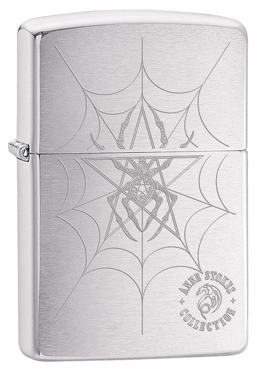 Zippo Lighter: Anne Stokes Spider and Web - Brushed Chrome 79587 - Gear Exec