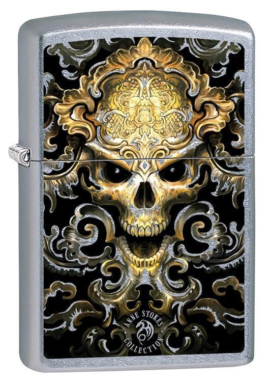 Zippo Lighter: Anne Stokes Skull Design - Street Chrome 79593 - Gear Exec