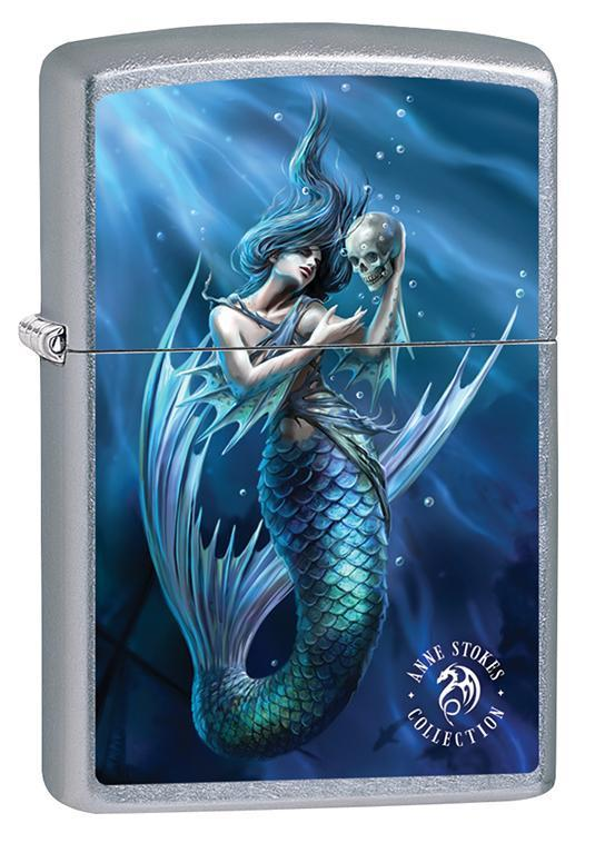 Zippo Lighter: Anne Stokes Mermaid with Skull - Street Chrome 79599 - Gear Exec (1975627907187)