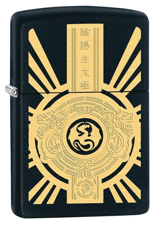 Zippo Lighter: Anne Stokes Chinese Dragon Seal - Black Matte 79602 - Gear Exec