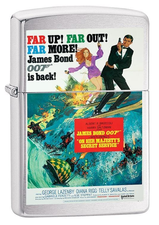 Zippo Lighter: James Bond, On Her Majestys Secret Service - Brushed Chrome 79656