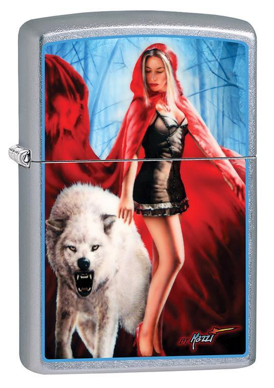 Zippo Lighter: Mazzi Lady and Wolf - Street Chrome 79683