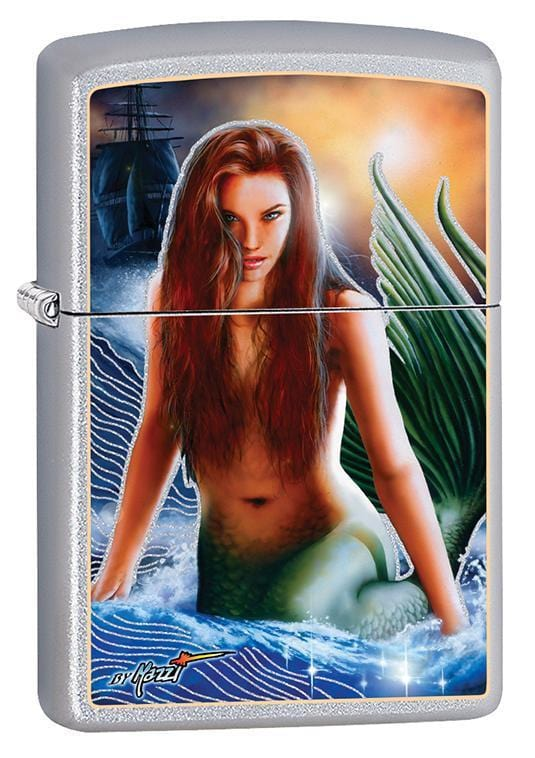 Zippo Lighter: Mazzi Mermaid - Satin Chrome 79686