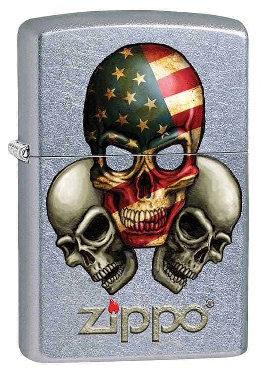 Zippo Lighter: Three Skulls, American Flag - Street Chrome 79710