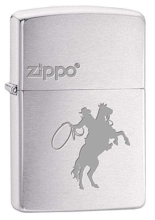 Zippo Lighter: Cowboy on Horse Engraved - Brushed Chrome 79716 - Gear Exec