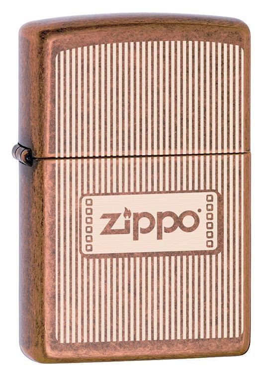 Zippo Lighter: Engraved Lines and Zippo Logo - Antique Copper 79728 - Gear Exec