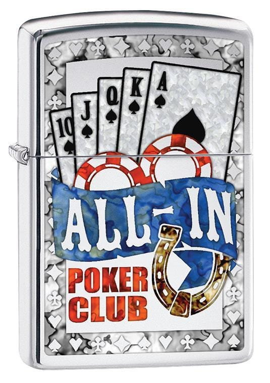 Zippo Lighter: All In Poker Club - High Polish Chrome 79749 - Gear Exec