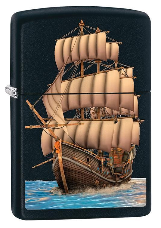 Zippo Lighter: Wooden Ship - Black Matte 79761