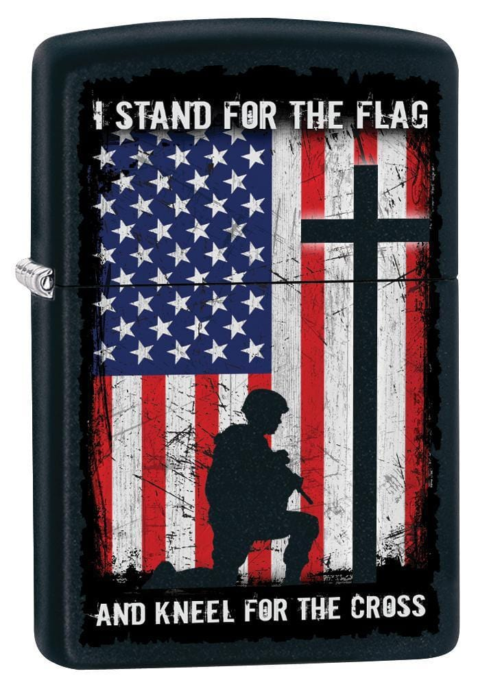 Zippo Lighter: I Stand For the Flag and Kneel For the Cross - Black Matte 79815 - Gear Exec