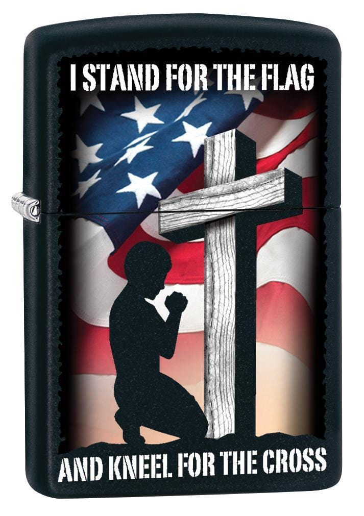 Zippo Lighter: I Stand For the Flag and Kneel For the Cross - Black Matte 79818 - Gear Exec