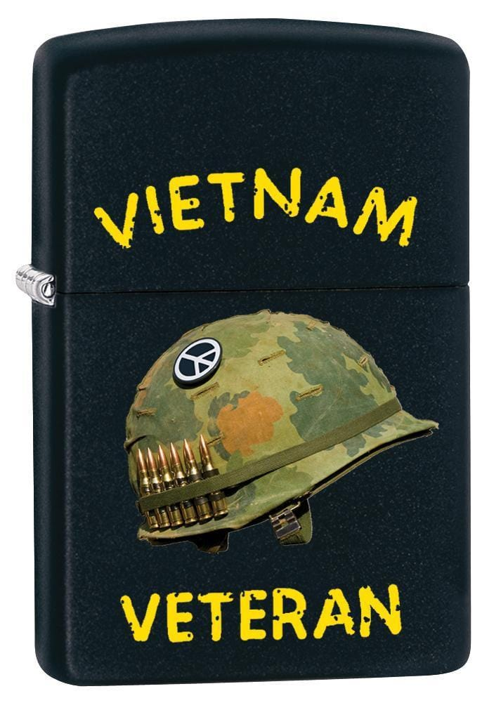 Zippo Lighter: Vietnam Veteran Design - Black Matte 79833