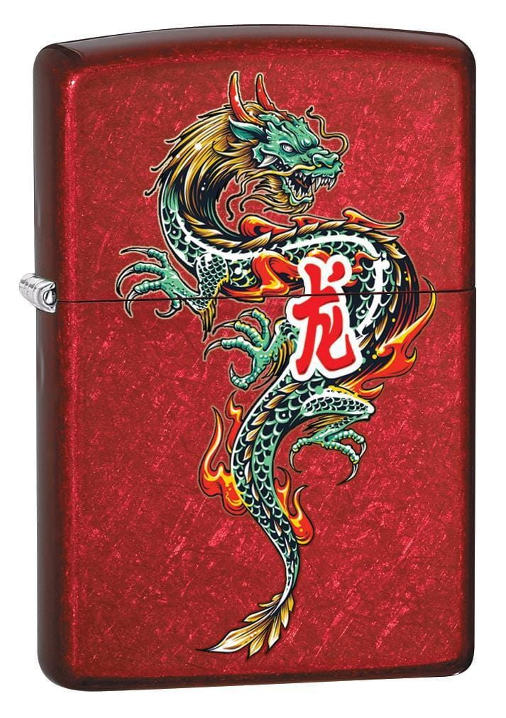 Zippo Lighter: Chinese Dragon Tattoo - Candy Apple Red 79851 - Gear Exec
