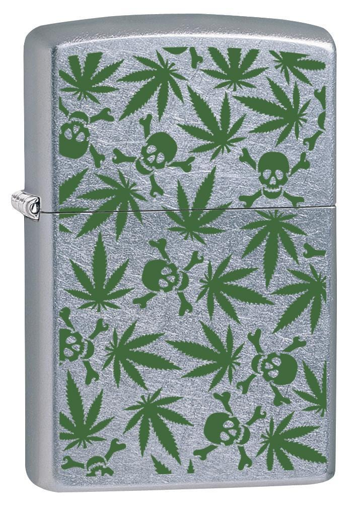 Zippo Lighter: Weed Leaves and Skulls - Street Chrome 79866