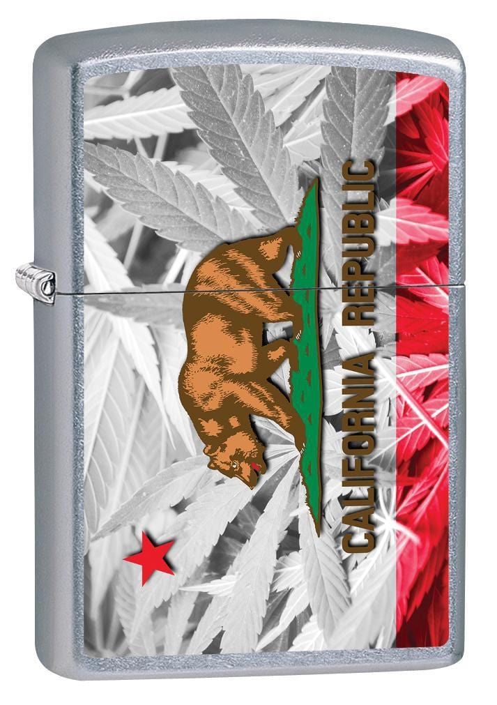 Zippo Lighter: California Flag and Weed Plants - Street Chrome 79869 - Gear Exec