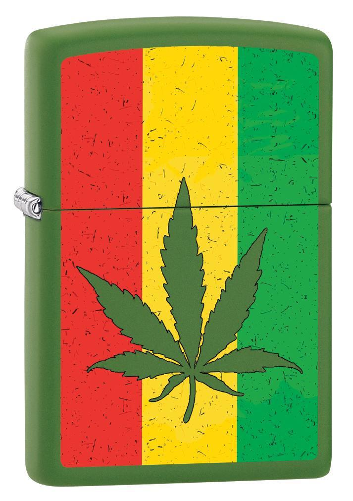 Zippo Lighter: Weed Leaf on Rastafari Flag - Moss Green Matte 79872