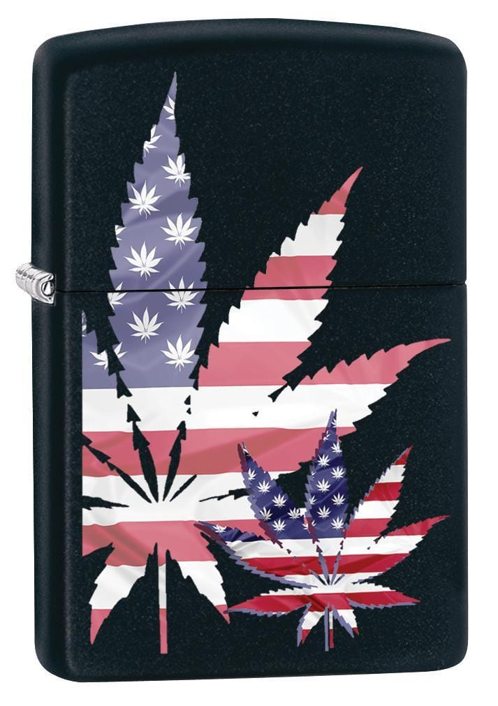 Zippo Lighter: American Flag Weed Leaf - Black Matte 79893 - Gear Exec