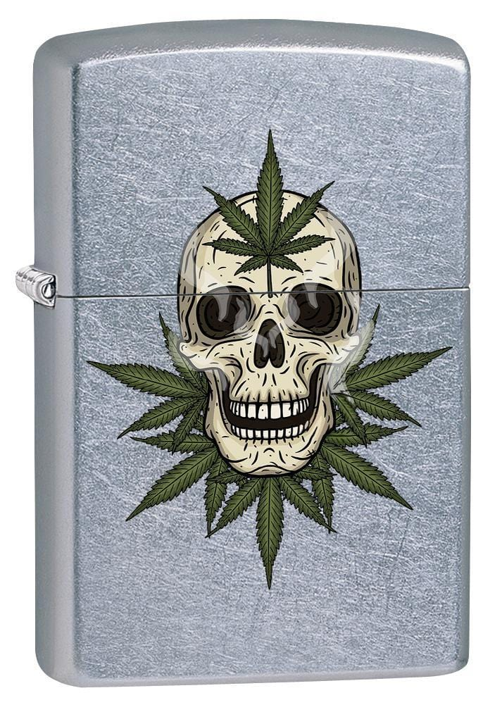 Zippo Lighter: Weed Leaves and Skull - Street Chrome 79896