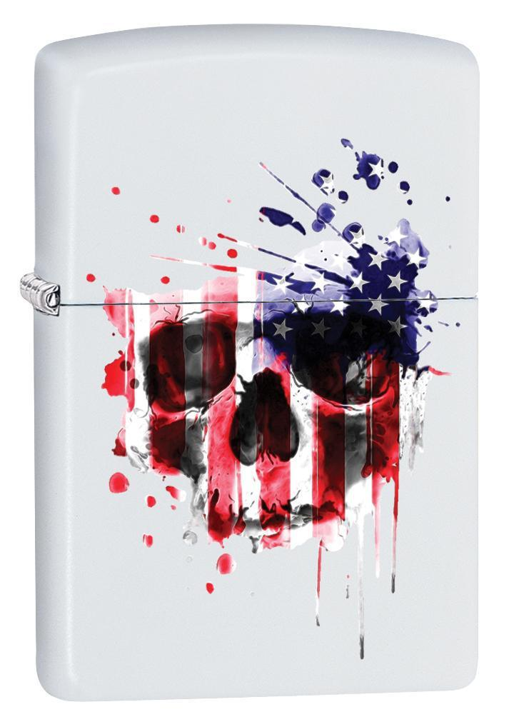 Zippo Lighter: American Flag Skull - White Matte 79911 - Gear Exec