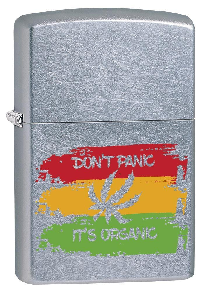 Zippo Lighter: Don't Panic, It's Organic Weed Leaf - Street Chrome 79914 - Gear Exec
