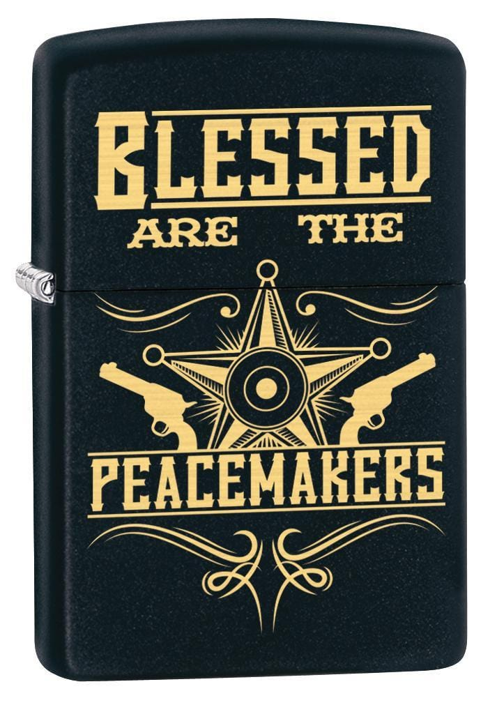 Zippo Lighter: Blessed Are the Peacemakers - Black Matte 79920 - Gear Exec