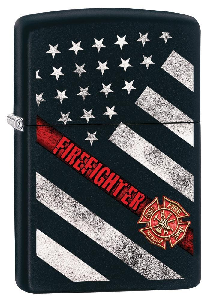 Zippo Lighter: Firefighter Flag - Black Matte 79929 - Gear Exec (1975634231411)