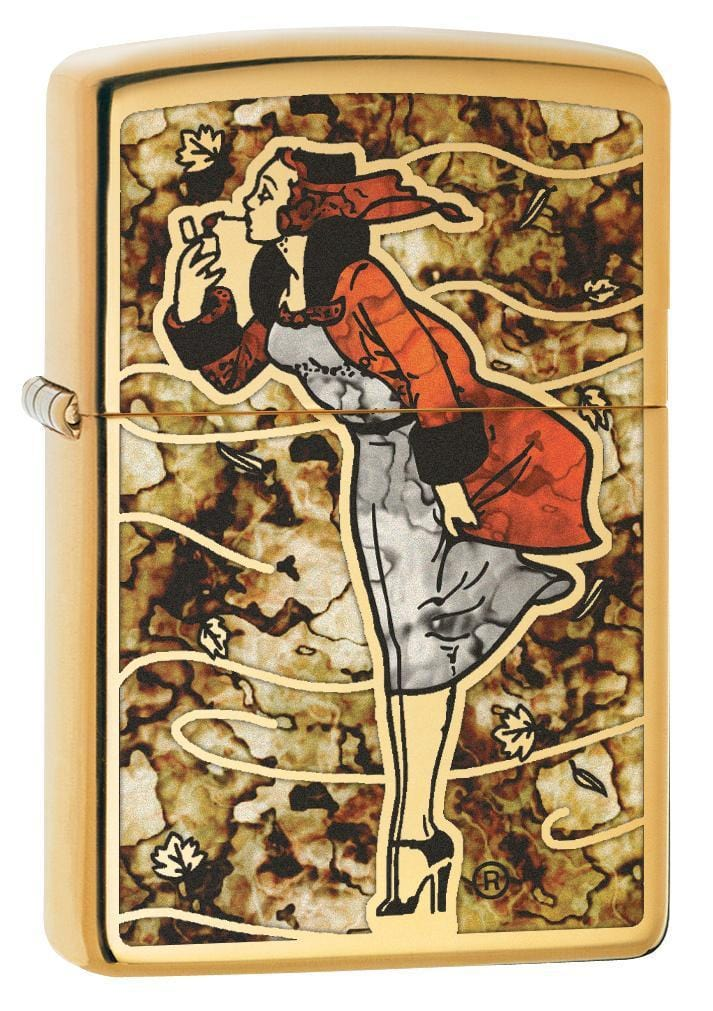 Zippo Lighter: Fusion Windy Girl - High Polish Brass 79950 - Gear Exec (1975634493555)