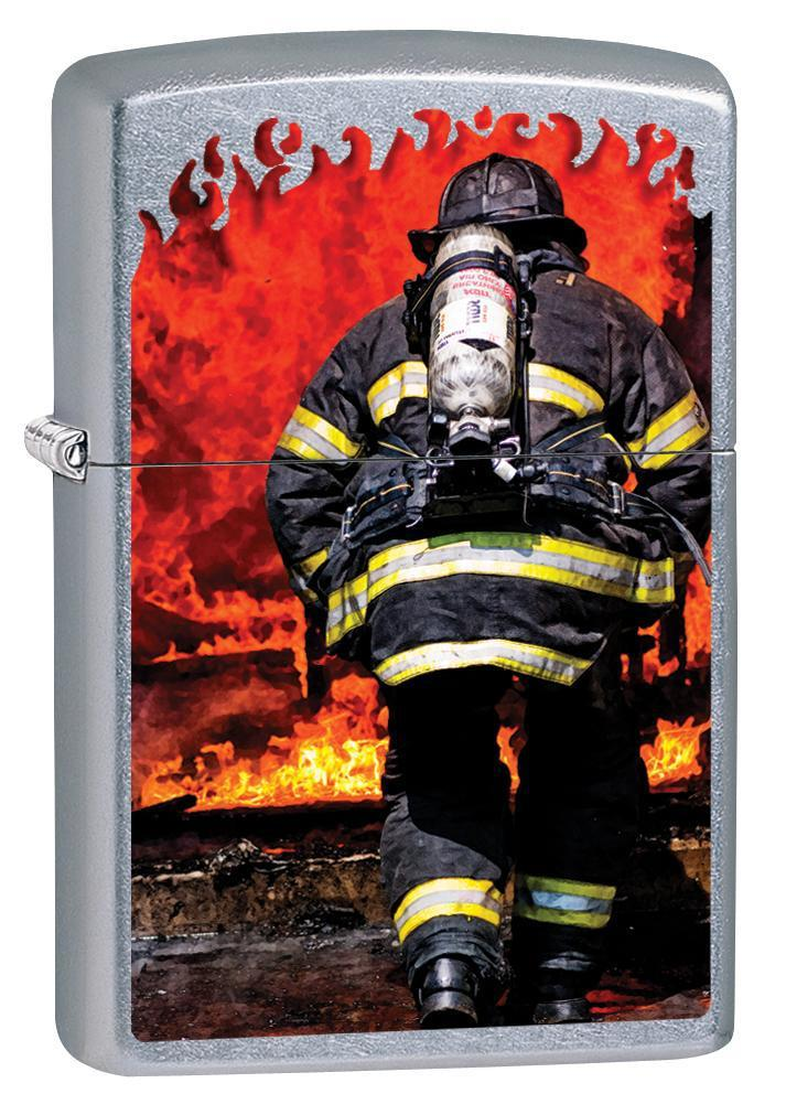 Zippo Lighter: Firefighter Battling Flames - Street Chrome 79953 - Gear Exec