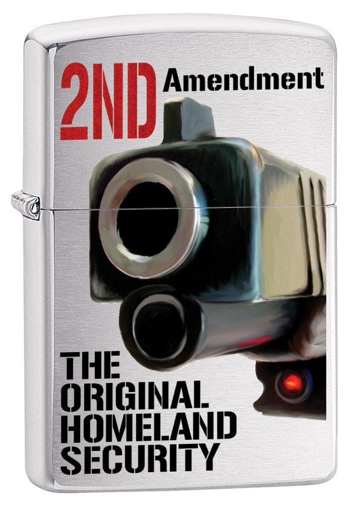 Zippo Lighter: Second Amendment, Homeland Security - Brushed Chrome 79977 (1975634886771)