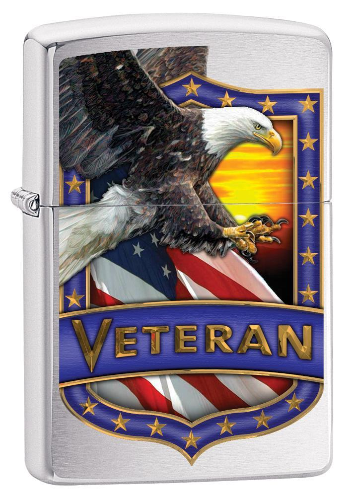 Zippo Lighter: Veteran Shield with Eagle - Brushed Chrome 79983