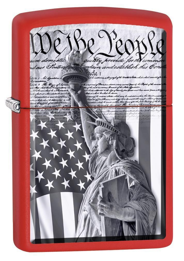 Zippo Lighter: Constitution and Statue of Liberty - Red Matte 79986 - Gear Exec