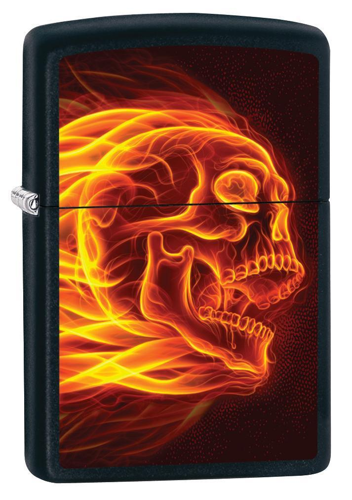 Zippo Lighter: Flaming Skull - Black Matte 79995 - Gear Exec (1975635181683)