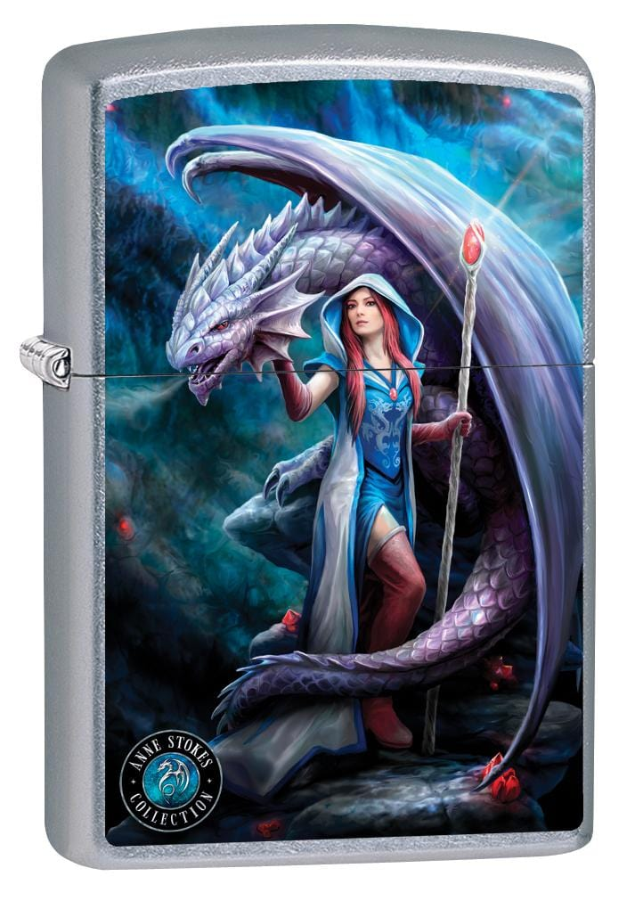 Zippo Lighter: Anne Stokes Lady and Dragon - Street Chrome 79998 (2029567934579)