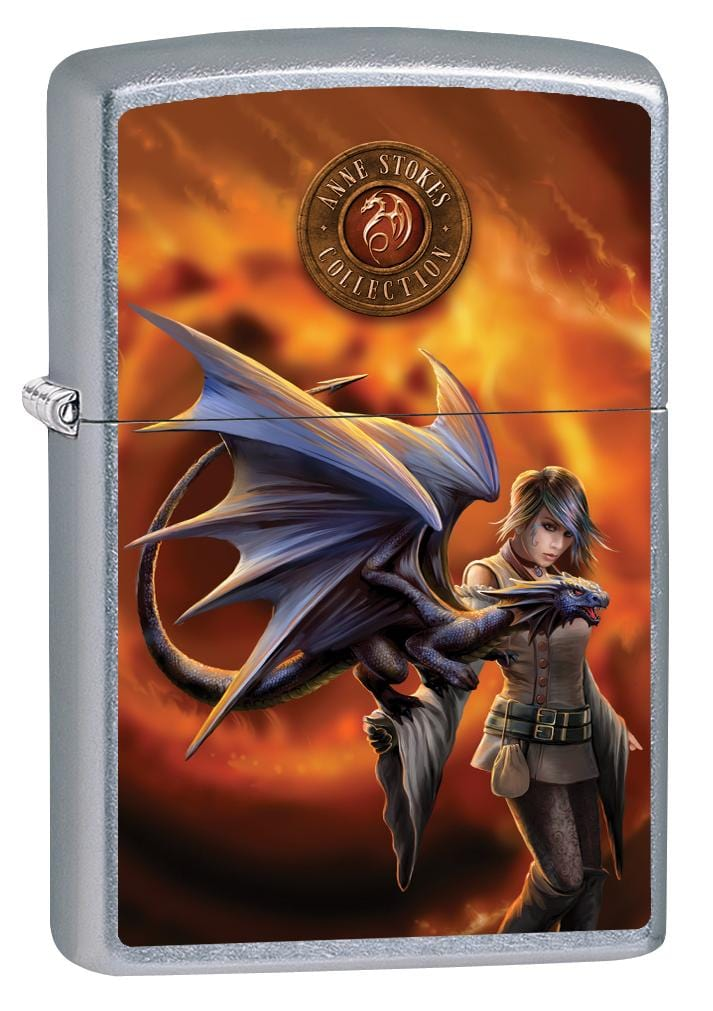 Zippo Lighter: Anne Stokes Dragon Trainer - Street Chrome 80001 (2029567967347)