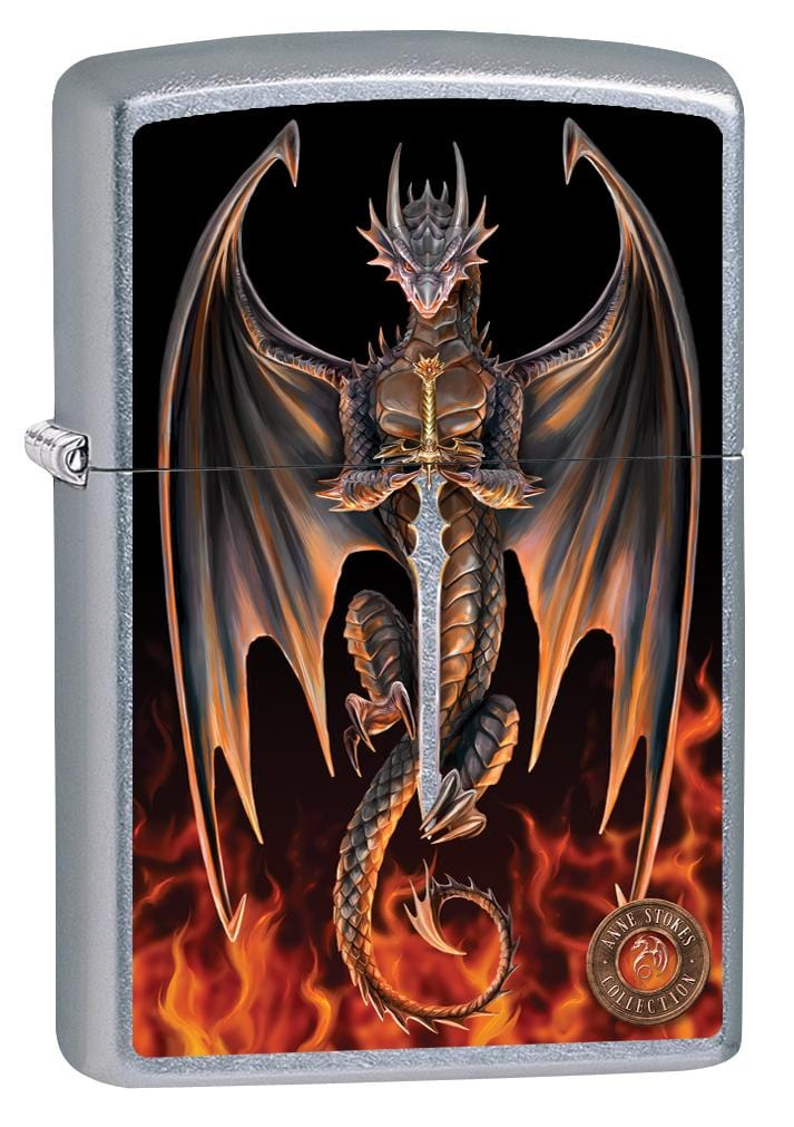 Zippo Lighter: Anne Stokes Dragon with Fire and Sword - Street Chrome 80004 (2029568000115)
