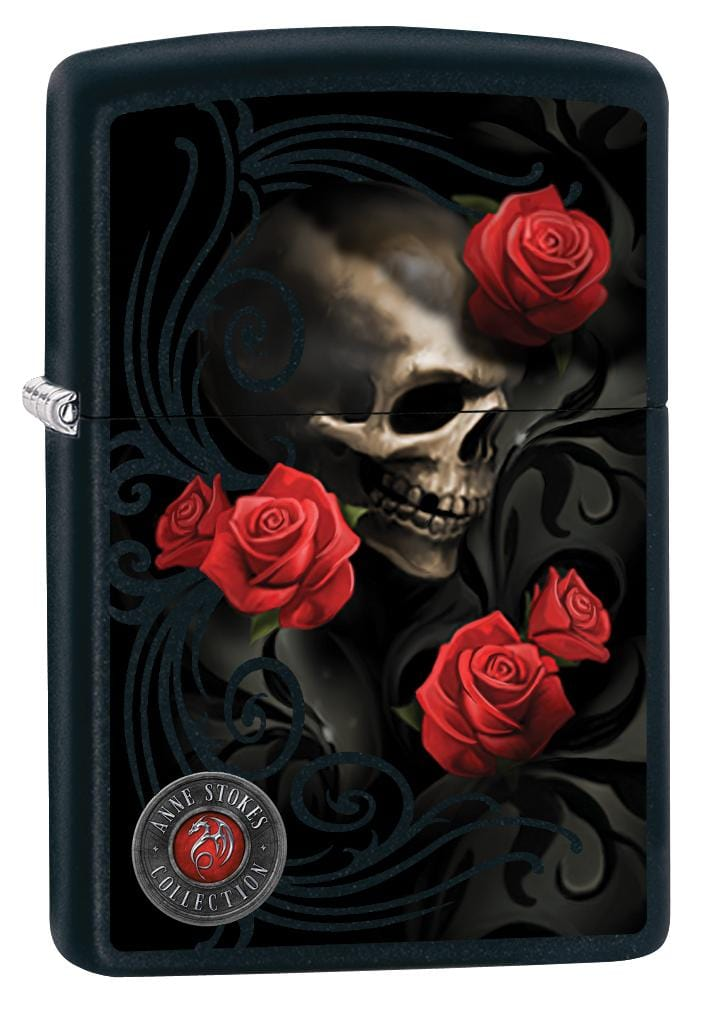 Zippo Lighter: Anne Stokes Skull and Roses - Black Matte 80010