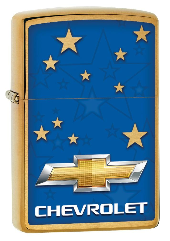 Zippo Lighter: Chevrolet Logo and Stars - Brushed Brass 80022