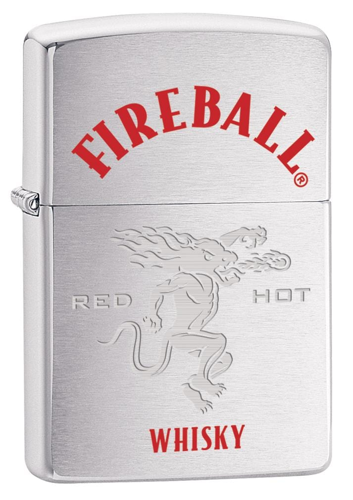 Zippo Lighter: Fireball Whisky, Red Hot - Brushed Chrome 80034