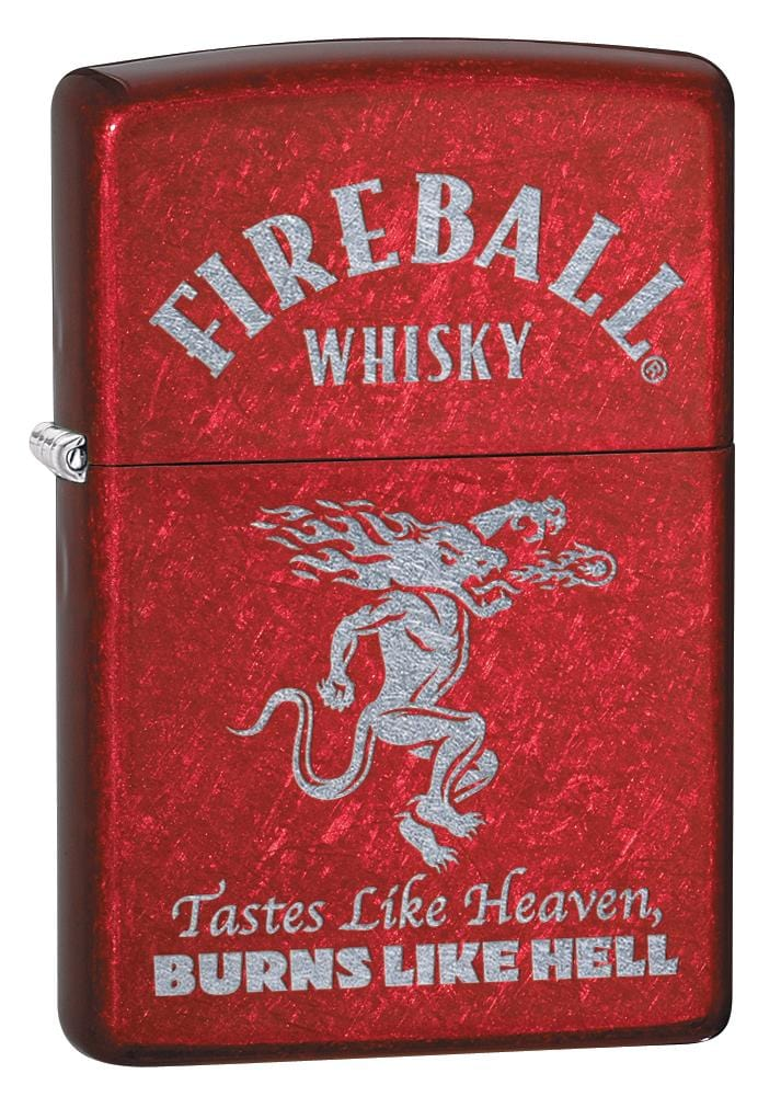 Zippo Lighter: Fireball Whisky Logo, Engraved - Candy Apple Red 80037