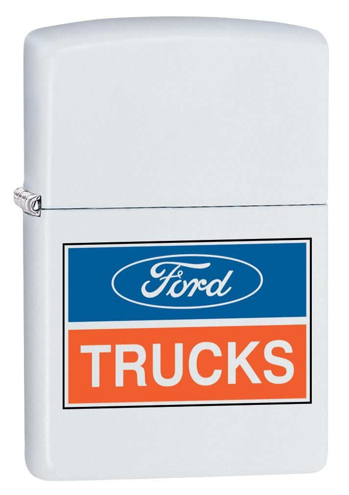 Zippo Lighter: Ford Trucks Logo - White Matte 80040