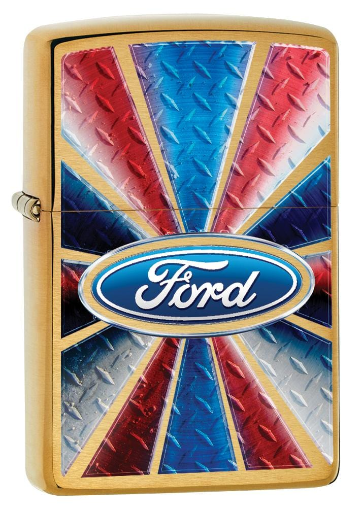 Zippo Lighter: Ford Logo in Color - Brushed Brass 80049