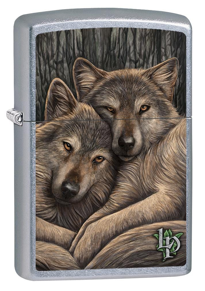 Zippo Lighter: Lisa Parker Two Wolves Close - Street Chrome 80085