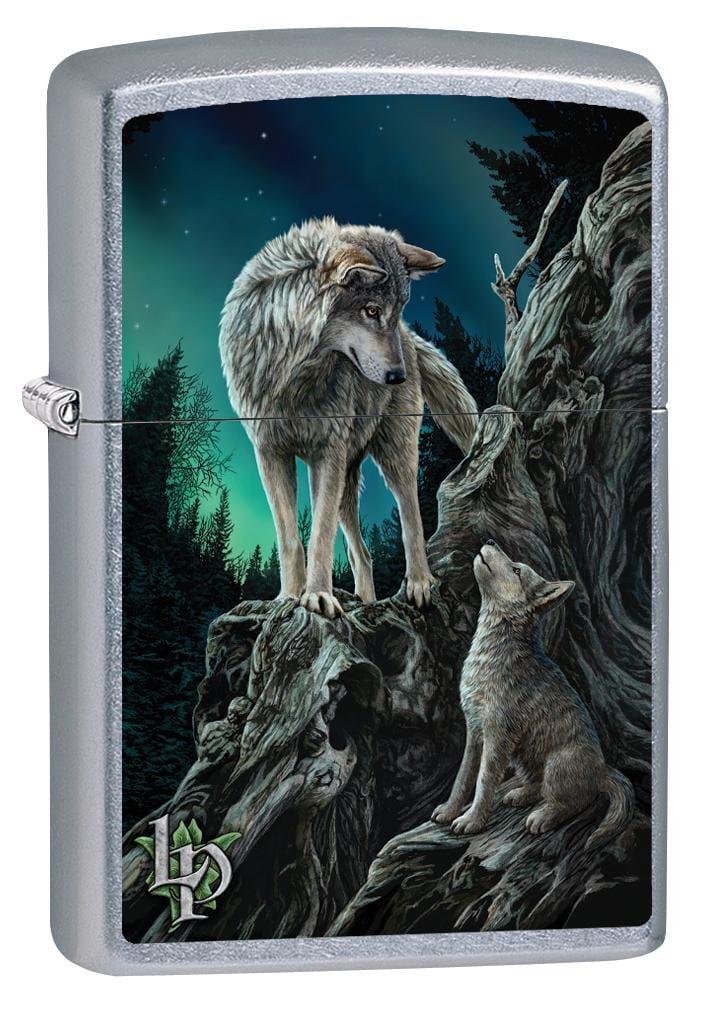 Zippo Lighter: Lisa Parker Wolf with Cub - Street Chrome 80088