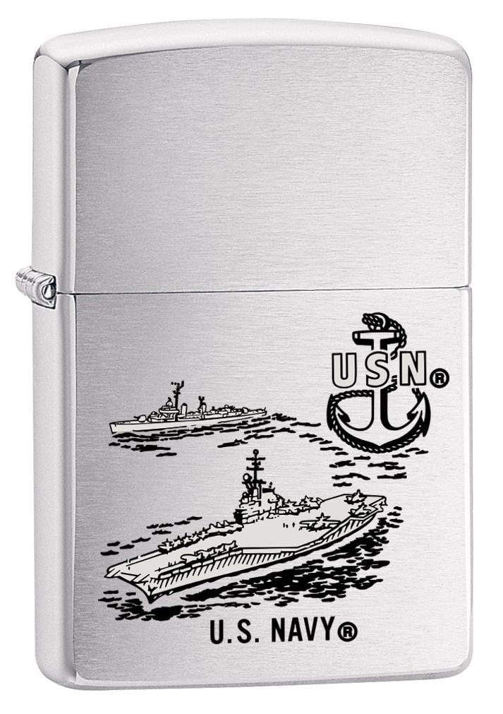 Zippo Lighter: U.S. Navy Aircraft Carrier - Brushed Chrome 80148 (2029569704051)