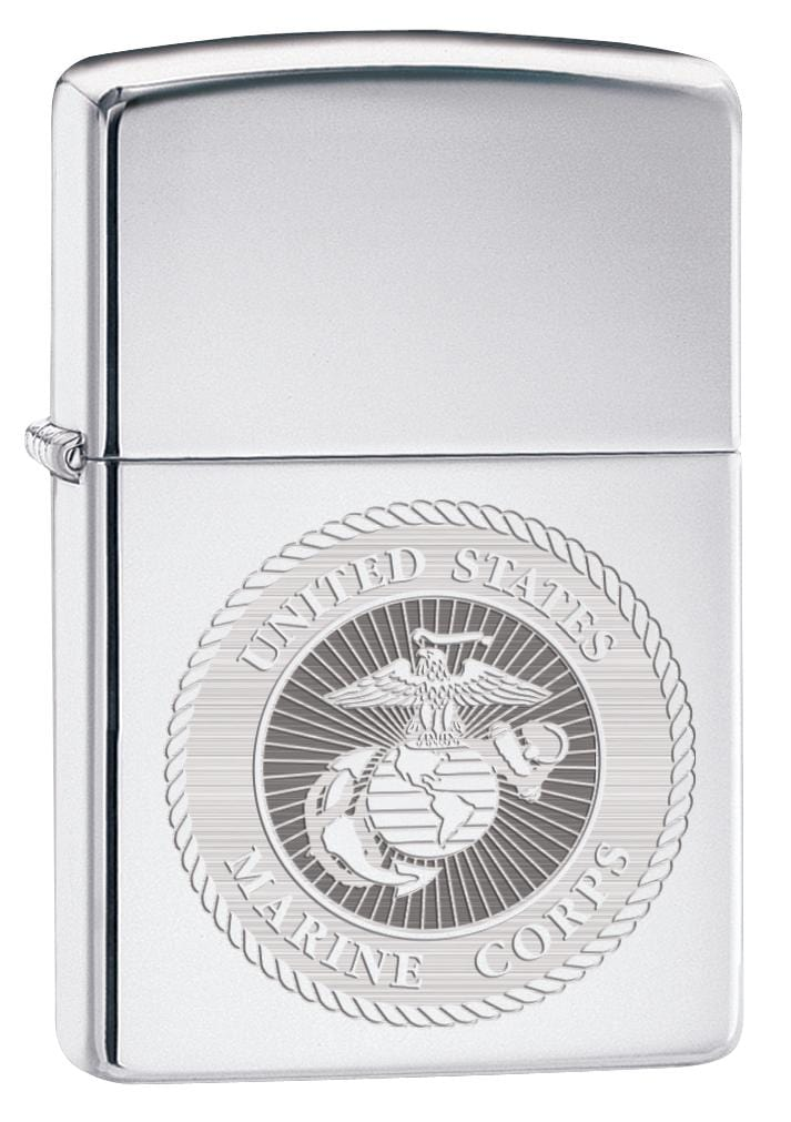Zippo Lighter: USMC Marine Corps Engraved Seal - High Polish Chrome 80154